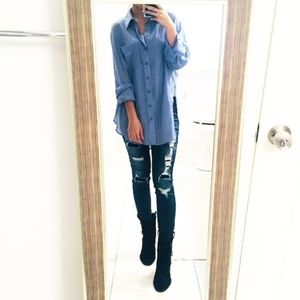 Free People Oversized Chambray Button-Down Shirt